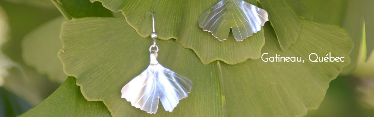 Boucles d'oreilles-feuilles de ginkgo biloba